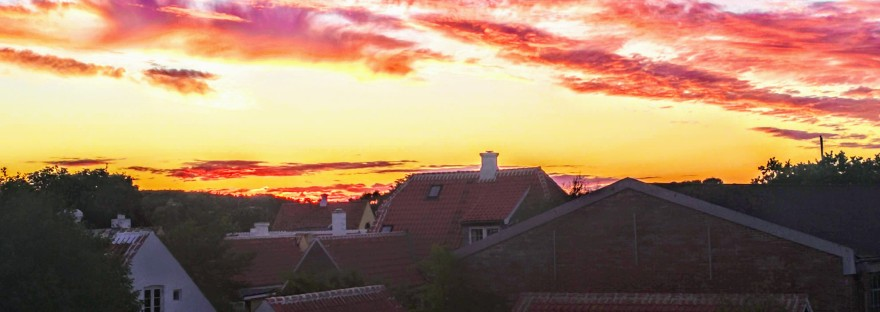 Sunset over the town of Skagen